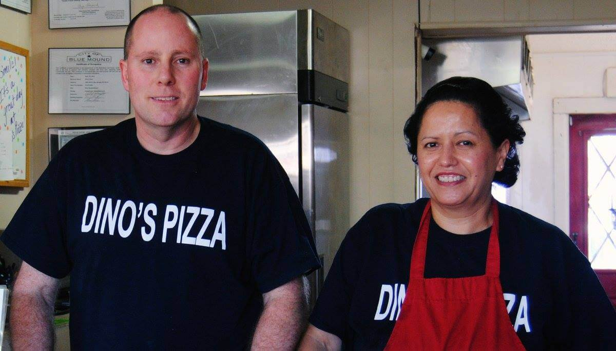 picture of owners of dinos pizza of blue mound texas magdelina and dean